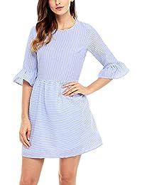 Women Cute White Stripe 3 4 Sleeve Babydoll Dress