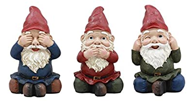 "Ebros Whimsical See Hear Speak No Evil Gnomes Statue 4""Tall Set Of 3 Wise Dwarf Gnomes Collectible Figurines"