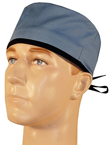 Mens and Womens Surgical Cap - Wedgewood Blue w/Black Ties (Men Surgical Caps compare prices)