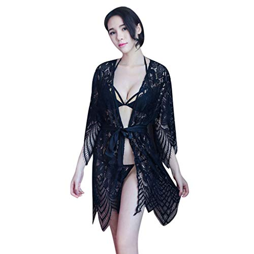 Sexy Kimono Lingerie Night Dressing Robe Chemises for Women Set Nightgown (Free Size, Black) by Jhualeek (Image #1)
