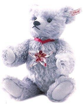Swarovski Steiff Bear with Swarovski Crystal Poinsettia Ornament 1295716