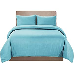 HollyHOME Duvet Cover Set Full Queen Size Protects Your Comforter/Duvet Insert Durable, Fade Resistant Brushed Microfiber with Embossed Striped Pattern, Light Blue