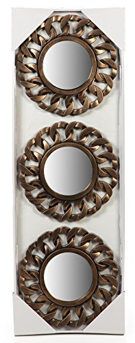 Hosley's Bronze Finish Ring Surround Wall Mirrors, Set of 3-10