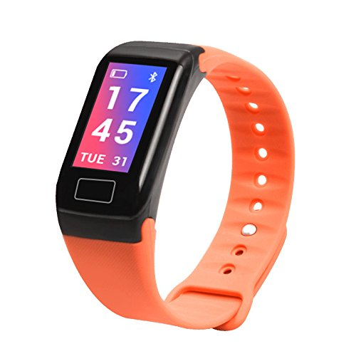 orange Fitness Tracker, Colour Screen Activity Tracker, Waterproof Pedometer Watch with Heart Rate and Blood Pressure Monitor, Calorie Counter, Smartwatch