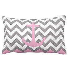 Pillowcase Standard Decorative Monogram Pink Pastel Anchor Gray Chevron Pattern Bedding Pillow Cases 20X30 Inches