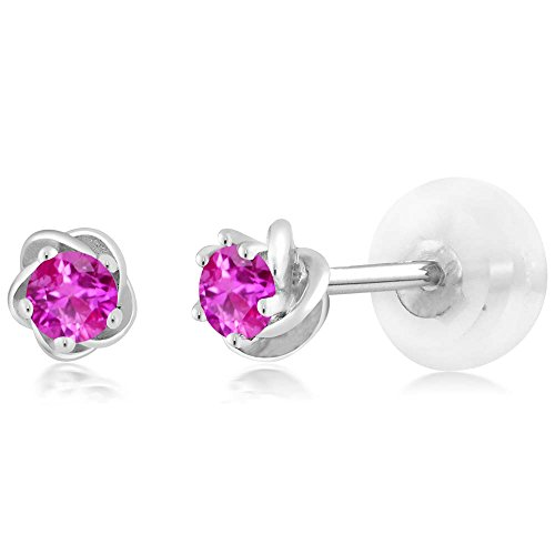 0.26 Ct Round 3mm Pink Sapphire 10K White Gold Stud Flower Earrings (Fancy Sapphire White Earrings)