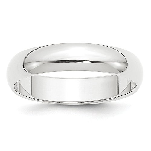Platinum 5mm Half-Round Featherweight Wedding Band Size 6