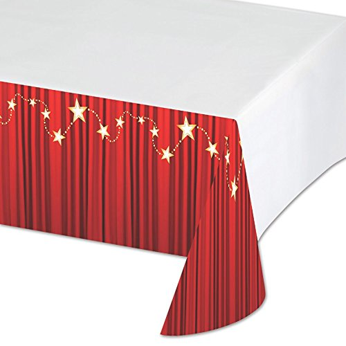 Red Carpet Themed Costume Ideas (Creative Converting Hollywood Lights Plastic Table Cover with Border Print, 54 x 102