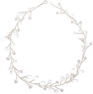 2e45c29d7bbc oshide 1 pieza pelo joyas novia vintage joyas de oro perlas y brillantes  pelo alambre