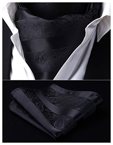 HISDERN Men's Ascot Paisley Jacquard Woven Gift Cravat Tie and Pocket Square Set Black