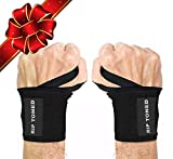 Rip Toned Wrist Wraps 18' Professional Grade with Thumb Loops - Wrist Support Braces for Men & Women - Weight Lifting, Crossfit, Powerlifting, Strength Training - Bonus Ebook (Black Stiff)