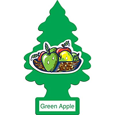 LITTLE TREES Car Air Freshener | Hanging Paper Tree for Home or Car | Green Apple | 12 Pack: Automotive