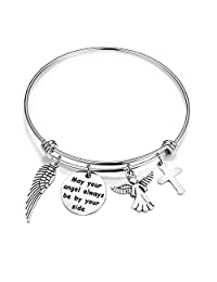 bobauna Memorial Jewelry May Your Angel Always Be by Your Side Expandable Wire Bangle Bracelet Inspirational Gift for Her