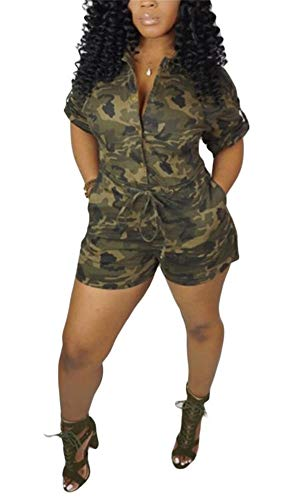- LKOUS Womens Summer Casual Camouflage Short Sleeve One-Piece Shorts Pants Jumpsuits Party Rompers Overalls Plus Size
