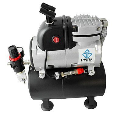 WST Single Cylinder Piston Compressor with Air Tank &Extra Fan 0.3mm Airbrush Kit For Cake Decoration Temporary Tattoo , 220v