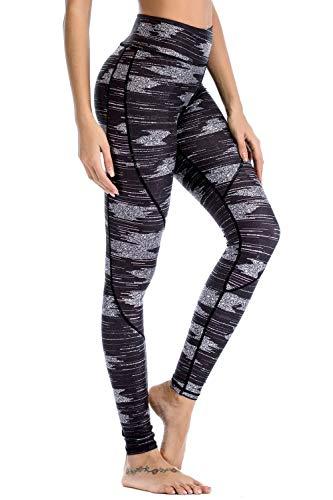Chisportate Women High Waist Yoga Legging Power Flex Tummy Control Workout Stretch Sport Yoga Pants for Gym Exercise Fitness Light Black