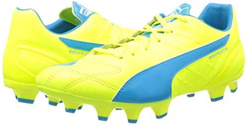 Puma Evospeed 3.4 Lth Fg Mens Soccer Boot Safety Giallo-atomico Blu-bianco 04