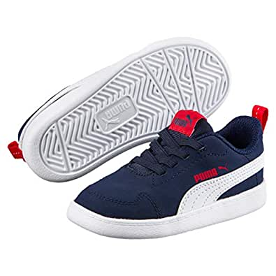 PUMA Kids Courtflex INF Sneaker, Peacoat-puma White, 4 US