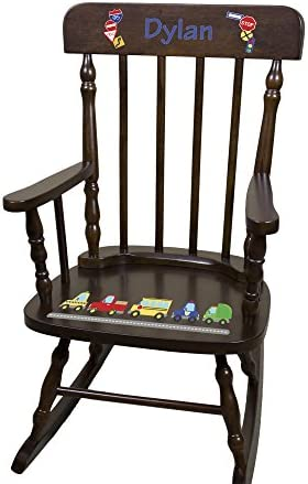 Personalized Espresso Cars and Trucks Rocking Chair