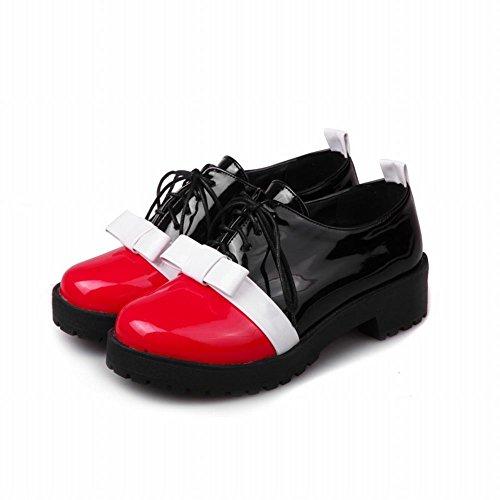 Mee Shoes Damen chunky heels Schleife Schnürhlabschuhe Rot