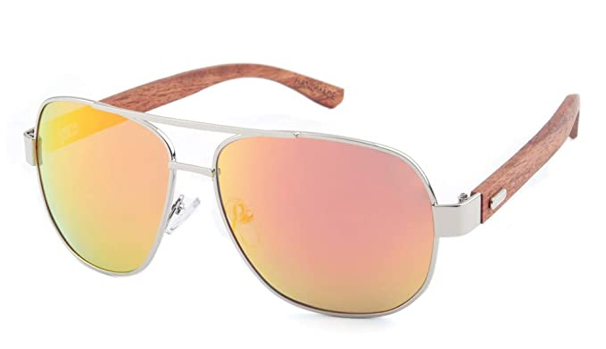 3b79ab4b3bc Image Unavailable. Image not available for. Color  Wooden Polarized Aviator  Sunglasses for Men Women