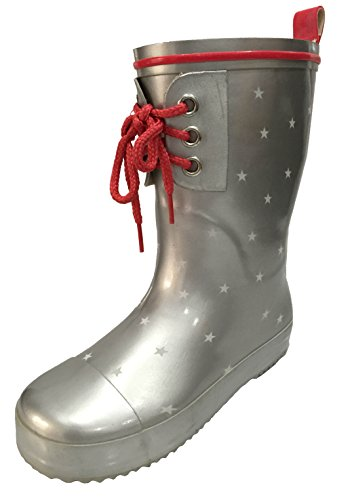 Toddler and Youth Girls Silver and Red Rain Boot Snow Boot with Stars Design and Lace in Front (11) ()