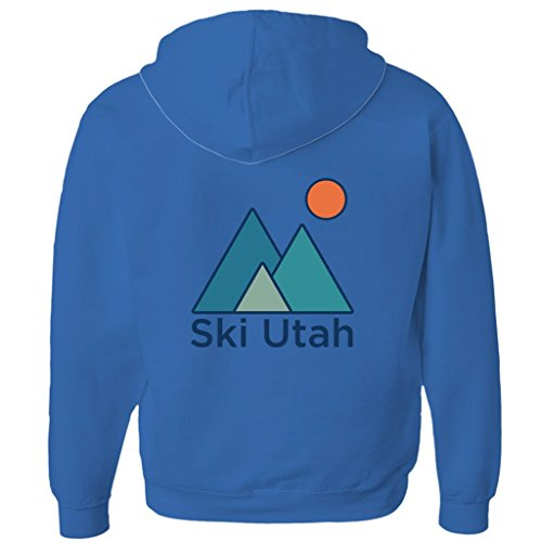 Tenn Street Goods Ski Utah Minimal Mountain - Unisex Fleece Full-Zip Hoodie (True Royal, Small)