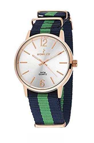Reloj NOWLEY 8-5573-0-1 - Reloj Unisex Caja Dorada, WR 5 ATM, con Correa de Nylon Azul y Verde.: Amazon.es: Relojes