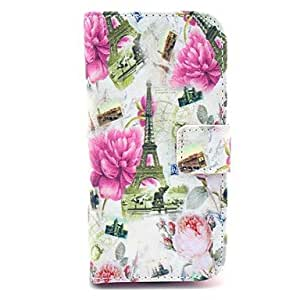 PEACH Peony Flower Tower Pattern PU Leather Case with Card Slot and Stand for Samsung Galaxy S4 mini I9190