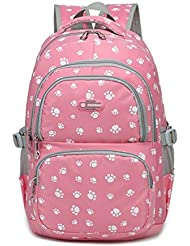 Fanci Lovely Dog Paw or Butterfly Prints Waterproof Primary Middle School Backpack Fit for 14 inch Laptop