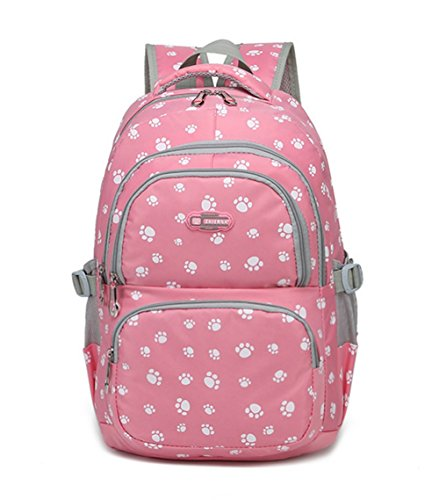 - Fanci Students Candy Color School Bag Lovely Dog Paw or Butterfly Prints Large Capacity Backpack