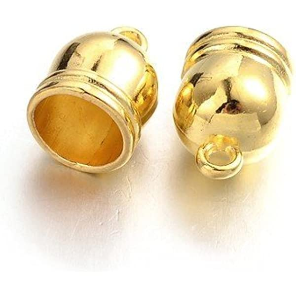 Packet of 20 x Mixed Plated Brass 10 x 14mm Kumihimo Barrel End Caps Charming Beads HA11330