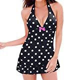 KYLEON Women's Bikini Sets Ladies Plus Size Tankini Dot Printed Bandage Strap Two Pieces Swimsuits Bathing Suit Swimwear White