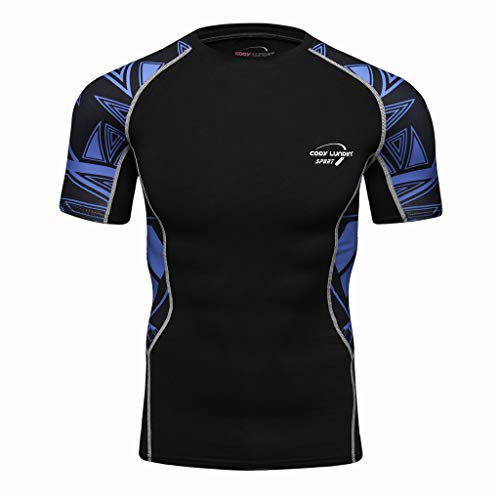 - iZZZHH Men's Fashion Cool Print Yoga Fitness Soft Quick-Drying Short Sleeve T-Shirt Top Blouse Tee(C-Blue,XXL)