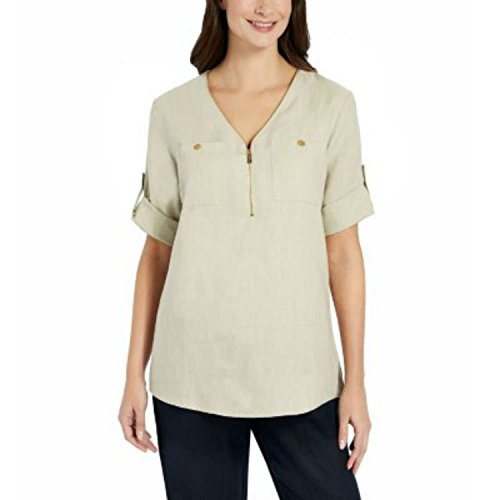 Ellen Tracy Company Ladies' Roll Tab Medium Size Linen Tunic (Chalk)