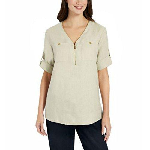 Ellen Tracy Company Ladies' Roll Tab Medium Size Linen Tunic (Chalk)