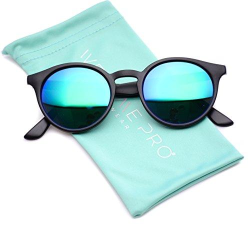 WearMe Pro Classic Small Round Retro Sunglasses, Black Frame / Mirror - 10 Sunglasses Under