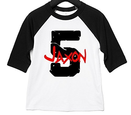 Applecoter PERSONALIZED Fifth Birthday Party Shirt Boy Five Year Old Gift 5th Baseball Raglan