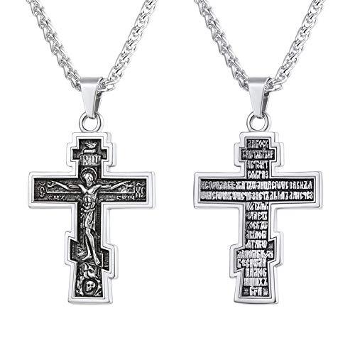 U7 Vintage Crucifix Pendant Christian Jewelry Vintage Stainless Steel Orthodox Cross Catholic Necklace
