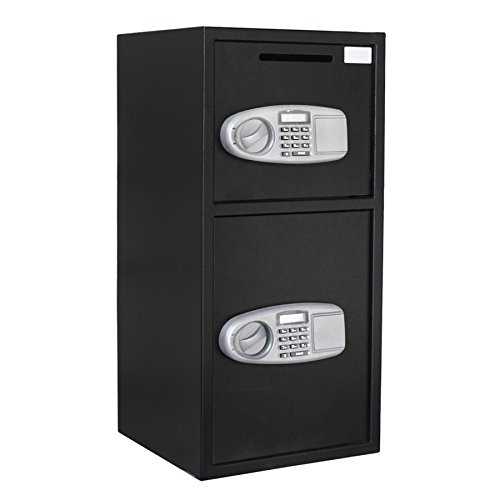 F2C Single/Double Door Digital Electronic Security Safe Box with Two Keys, Digital Lock for Gun Cash Jewelry Valuable Office Home Hotel, Solid Steel (Double Door Safe)