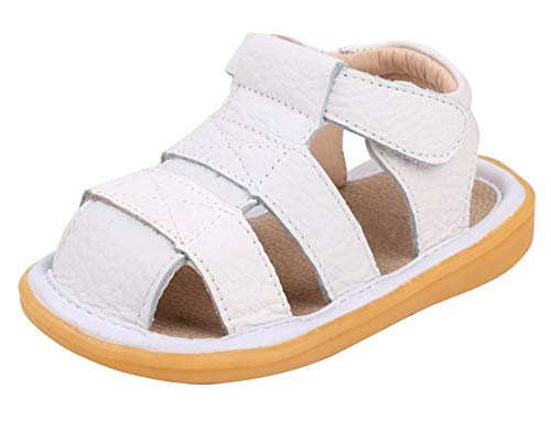 LONSOEN Toddler Boy Girl Summer Outdoor Closed-Toe Leather Sandals