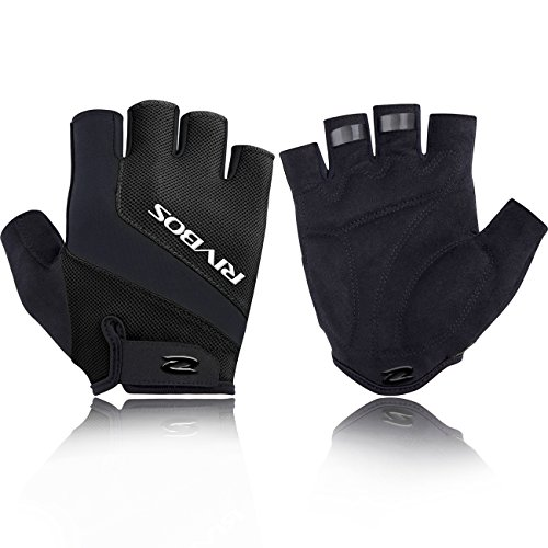 RIVBOS Bike Gloves Cycling Gloves Fingerless for Men Women with Foam Padding Breathable Mesh Fashion Design for Motorcycle Bicycle Mountain Riding Driving Sports Outdoors Exercise CHG004(Black L)