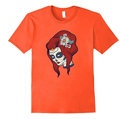 Redhead Male Halloween Costumes (Mens Sugar Skull Red Head Girl Shirt - Day of the Dead T-Shirt Medium Orange)