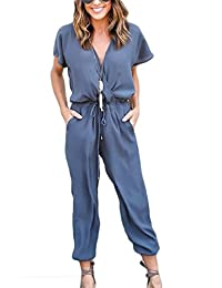 Women's Summer Wrap Drawstring V Neck Loose Overall Rompers Playsuits