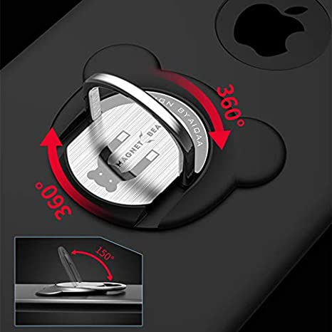 Black Universal Air Vent Magnetic Car Mount with 360/° Rotation Phone Ring Holder Finger Grip Kickstand Compatible with All Smartphone Black