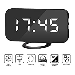 Amouhom Alarm Clock with USB Ports Digital Clock-Mirror Surface Alarm Clock-Time LED Display with Automatic Dimming Brightness Alarm Clock for Bedrooms Modern Desk Clock