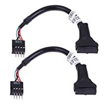 UEB 20/19 Pin USB3.0 Female to 9 Pin USB 2.0 Male Motherboard Cable (2 Pack)