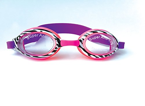 Aqua2ude Silicone Swim goggles. Super Anti Fog Fancy zebra style.