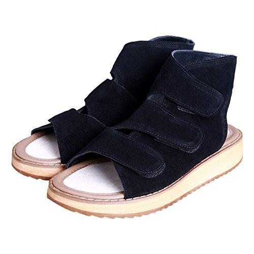 Coix Fermeture Sandales Lanière Femme compensées Sandales Sandales Noir Velcro Smilun EqSw6xpfn