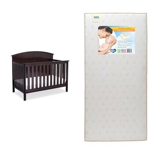 Delta Children Somerset 4-in-1 Crib, Dark Chocolate with Twinkle Stars Crib & Toddler Mattress